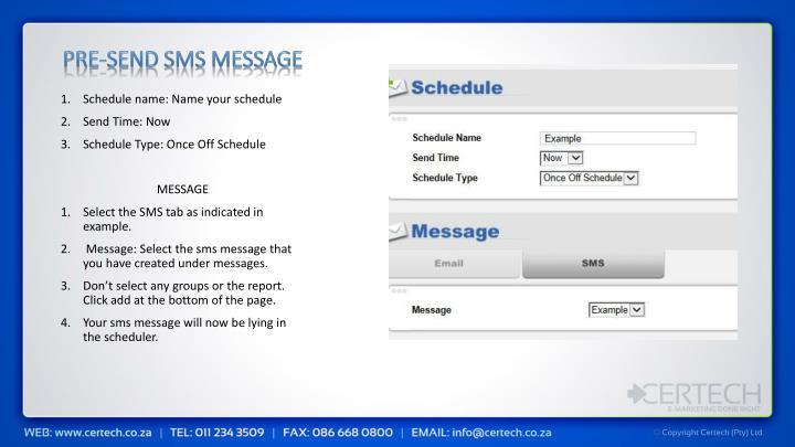 Pre-send sms message