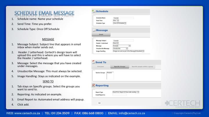 Schedule email message