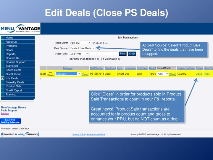 Edit Deals (Close PS Deals)