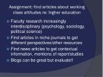 assignment find articles about working class attitudes re higher education