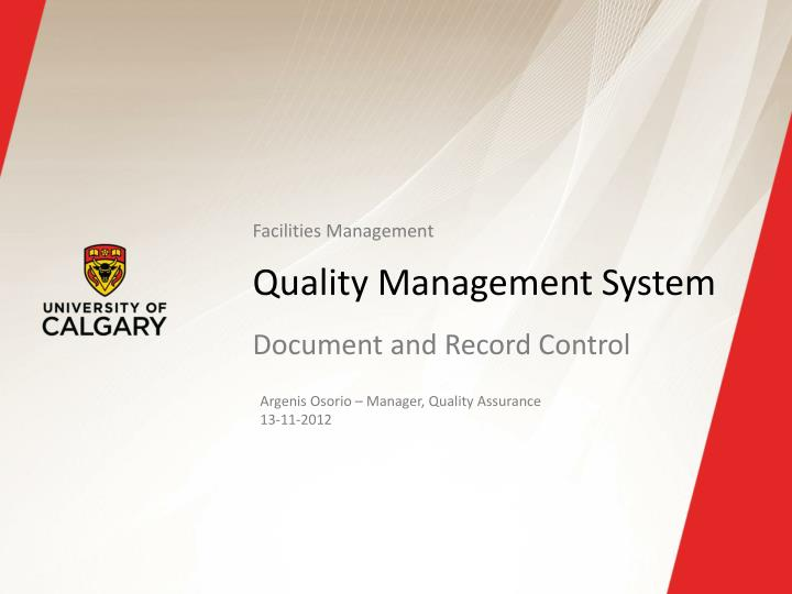 quality management system n.