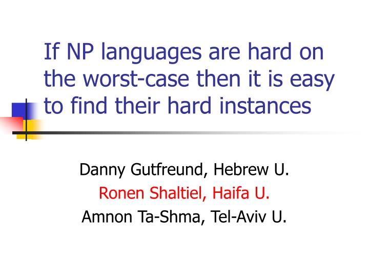 if np languages are hard on the worst case then it is easy to find their hard instances n.