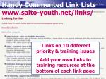 handy commented link lists www salto youth net links