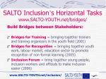 salto inclusion s horizontal tasks www salto youth net bridges