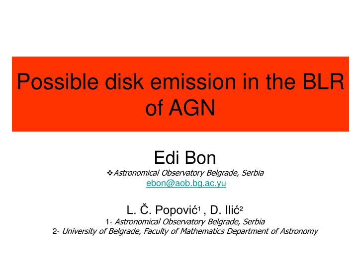 possible disk emission in the blr of agn n.