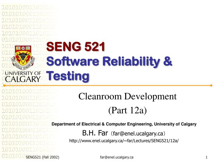 seng 521 software reliability testing n.