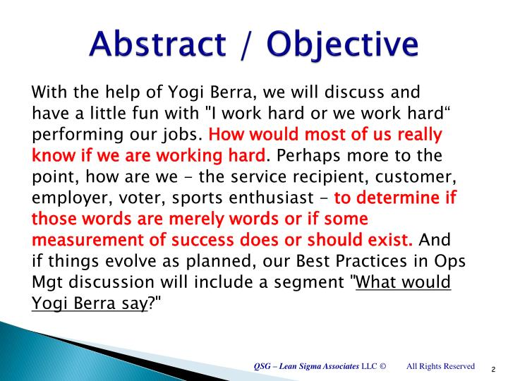 Abstract objective