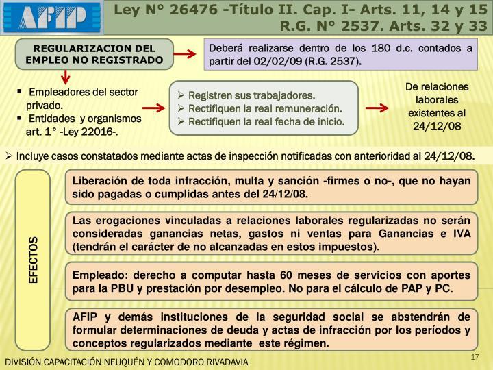 Ley N° 26476 -Título II. Cap. I- Arts. 11, 14 y 15