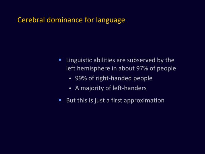 Cerebral dominance for language