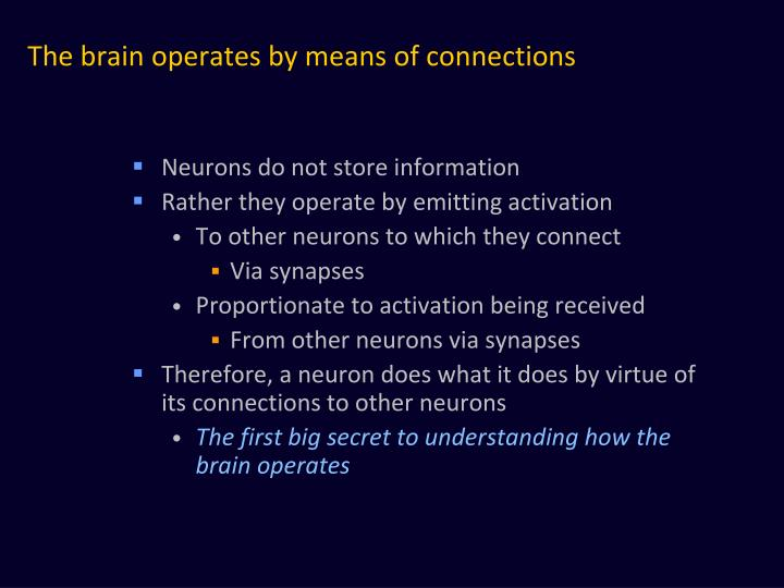 The brain operates by means of connections