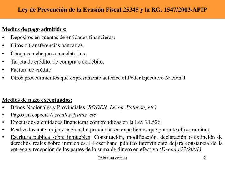 Ley de prevenci n de la evasi n fiscal 25345 y la rg 1547 2003 afip1