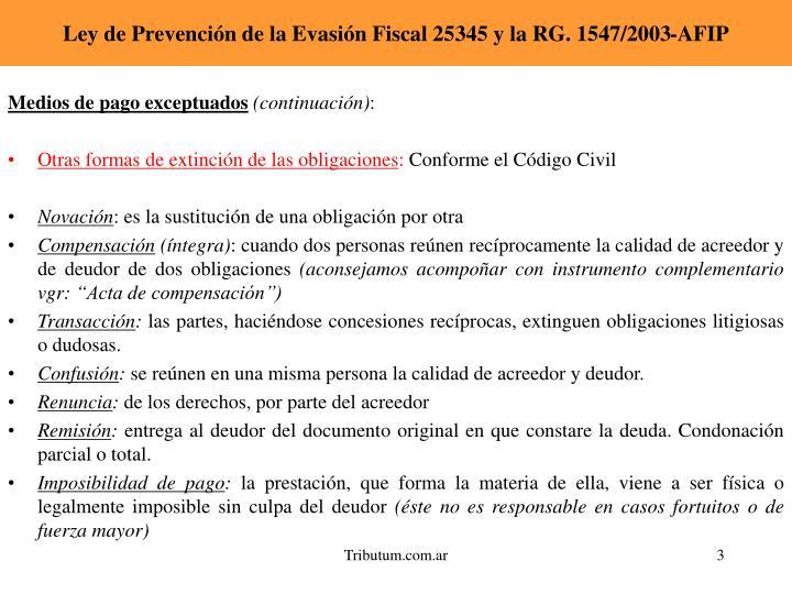 Ley de prevenci n de la evasi n fiscal 25345 y la rg 1547 2003 afip2