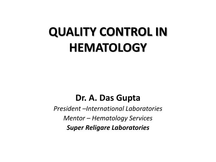 quality control in hematology n.
