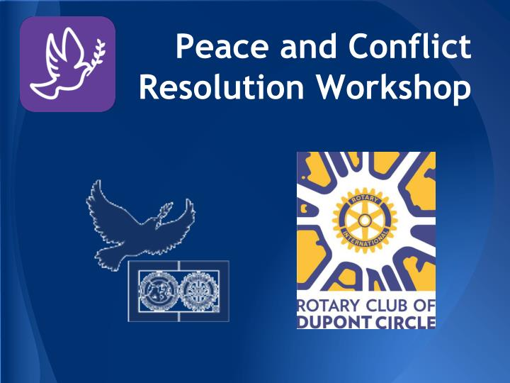 peace and conflict resolution workshop n.