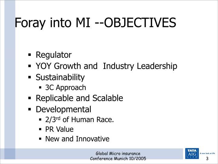 Foray into mi objectives