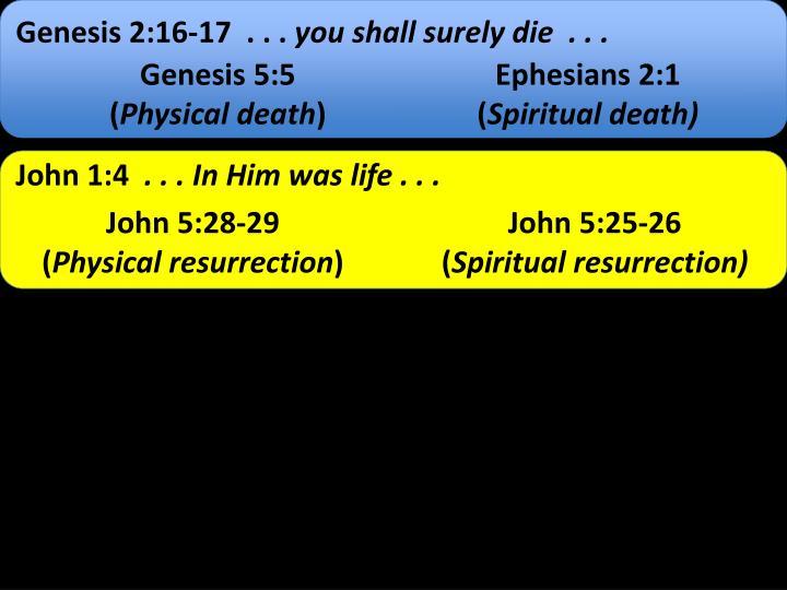 Genesis 2:16-17  . . .