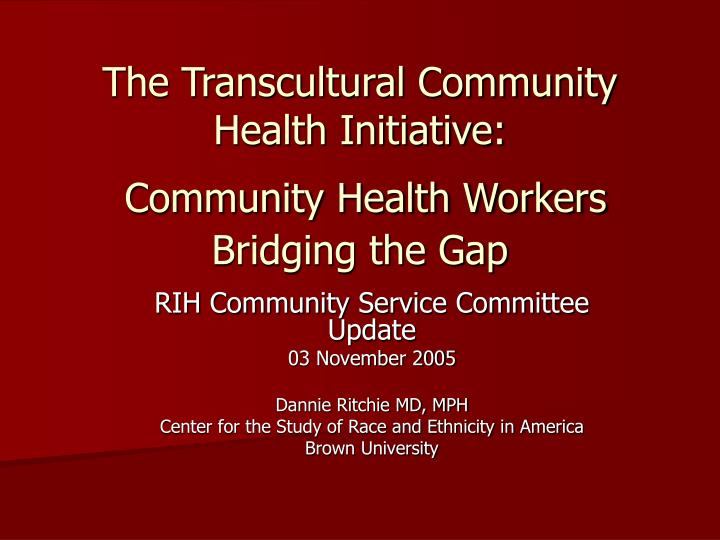 the transcultural community health initiative community health workers bridging the gap n.