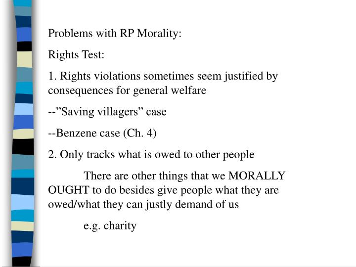 Problems with RP Morality: