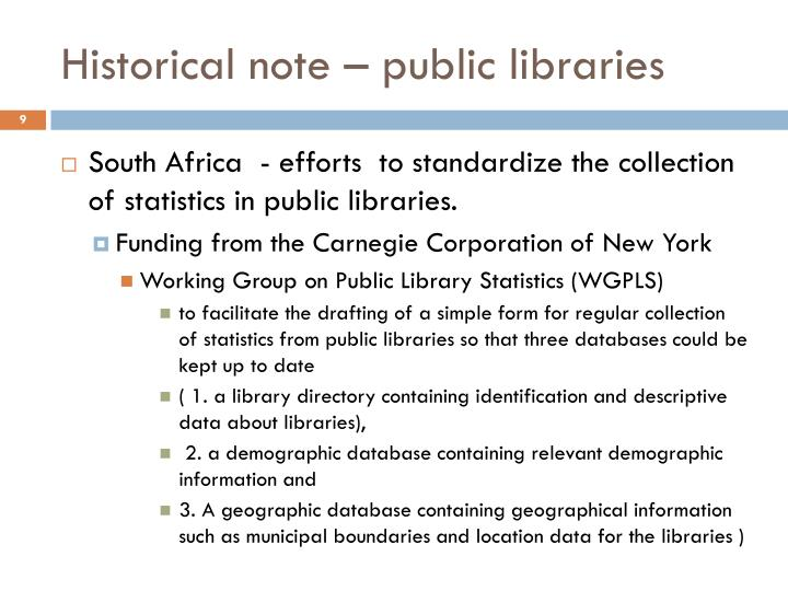 Historical note – public libraries