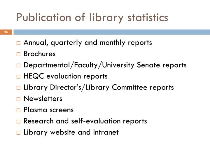 Publication of library statistics