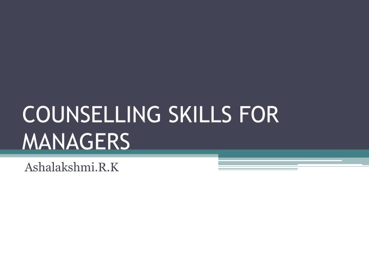 counselling skills for managers n.