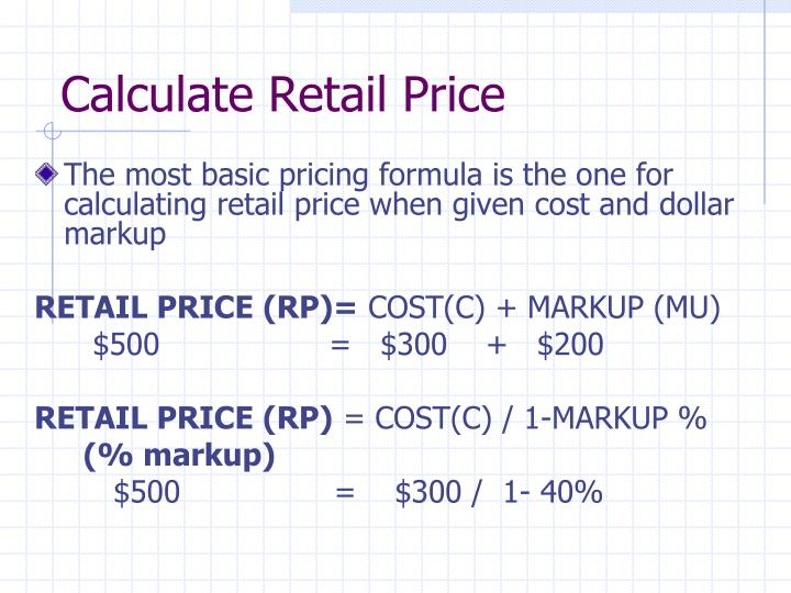 Calculate Retail Price