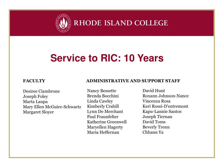 Service to RIC: 10 Years