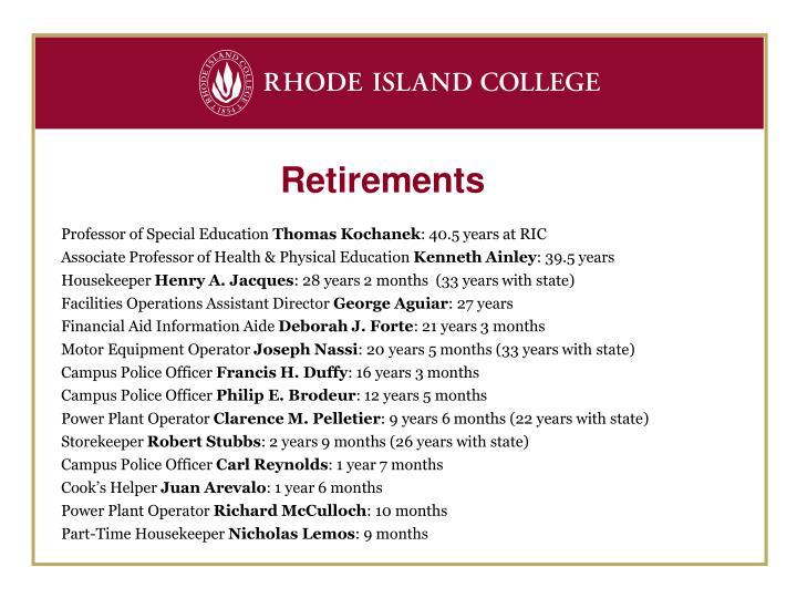 Retirements
