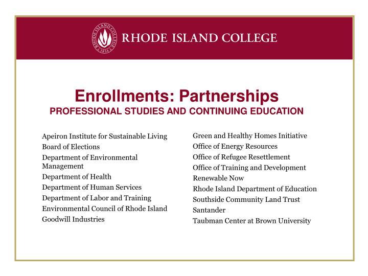 Enrollments: Partnerships