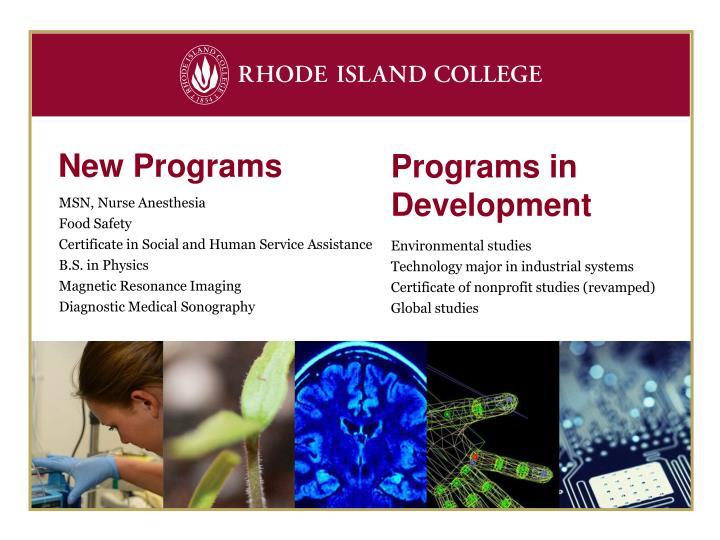 New Programs