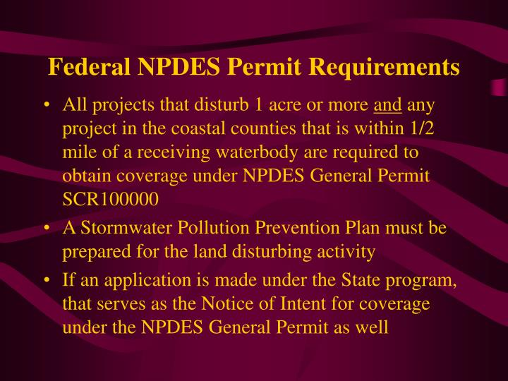 Federal NPDES Permit Requirements