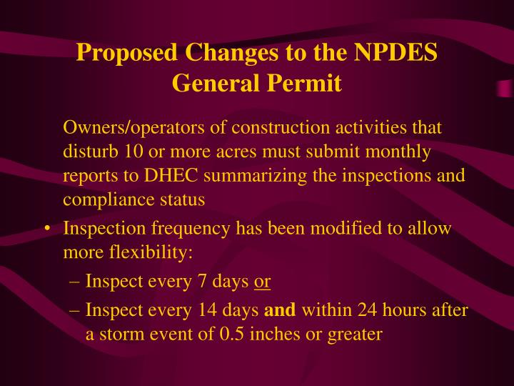 Proposed Changes to the NPDES General Permit