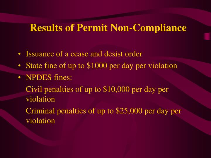 Results of Permit Non-Compliance