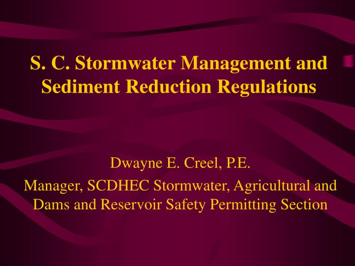 S c stormwater management and sediment reduction regulations
