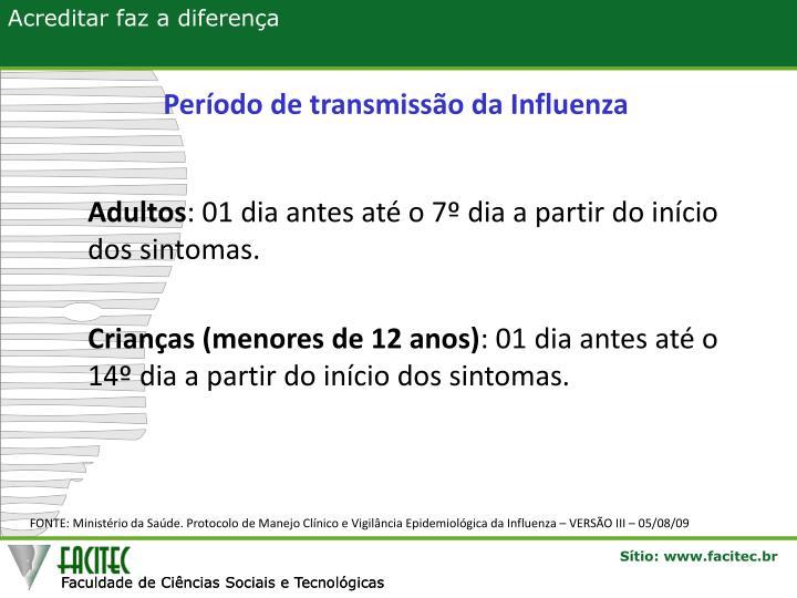 Período de transmissão da Influenza