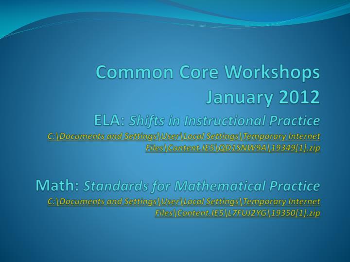 Common Core Workshops