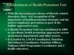 establishment of health promotion unit