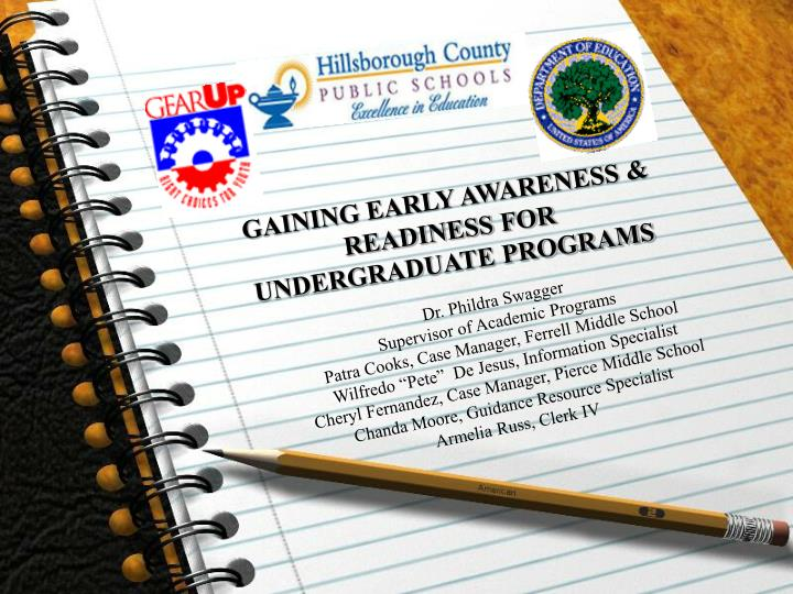 GAINING EARLY AWARENESS & READINESS FOR