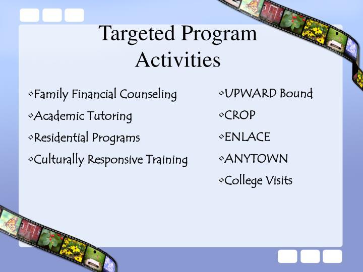 Targeted Program Activities