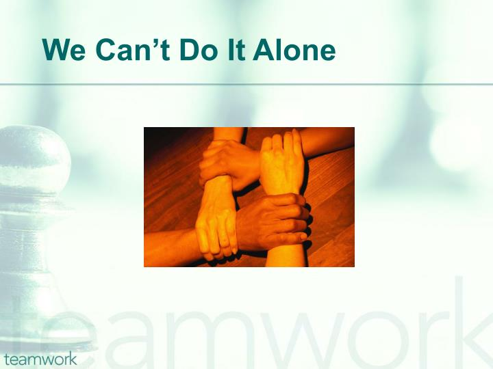 We Can't Do It Alone