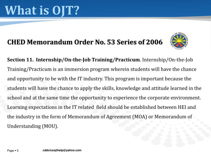 Ppt It Industry Exposure 2 Ojt Bscs On The Job Training