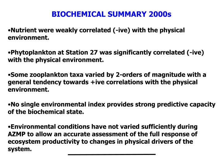 BIOCHEMICAL SUMMARY 2000s