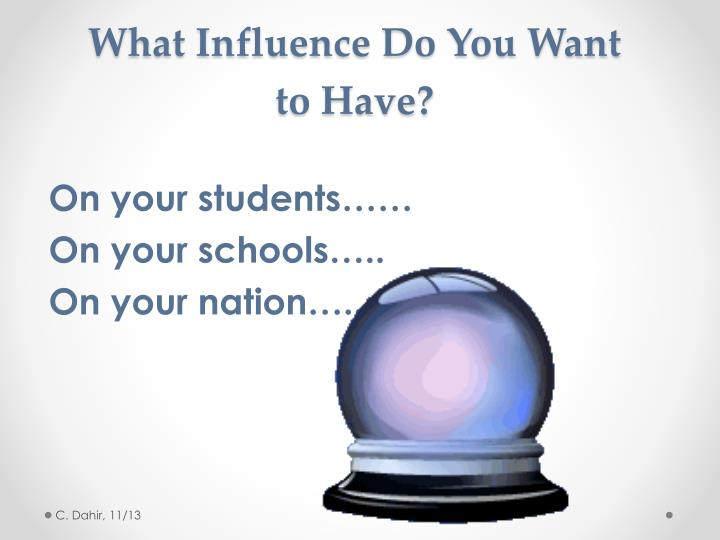 What Influence Do You Want to Have?