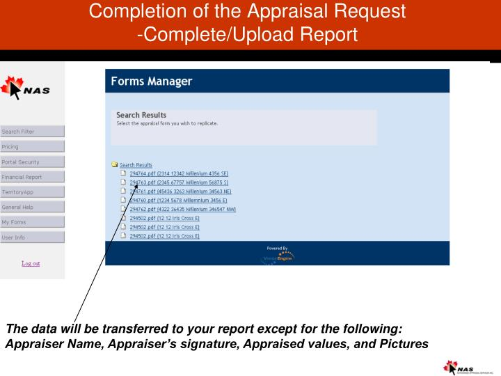 Completion of the Appraisal Request