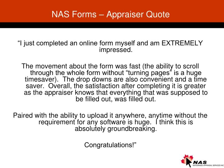 NAS Forms – Appraiser Quote