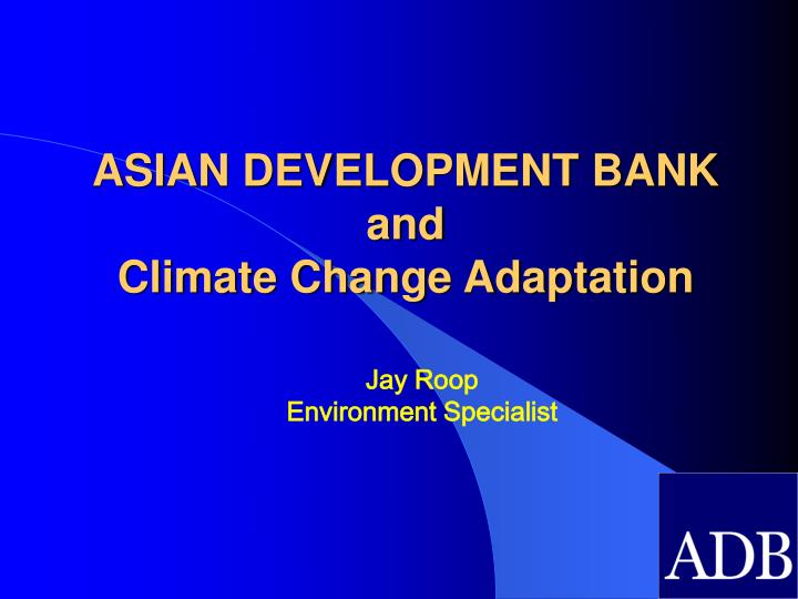 asian development bank and climate change adaptation n.