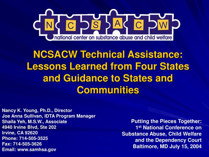 ncsacw technical assistance lessons learned from four states and guidance to states and communities n.