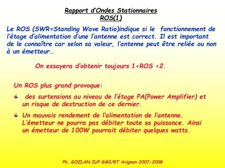 Rapport d'Ondes Stationnaires ROS(1)