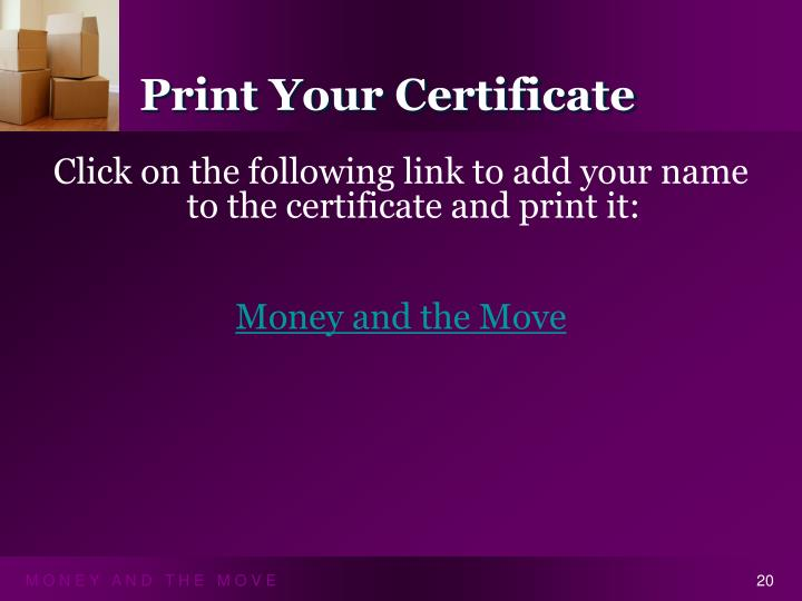 Print Your Certificate