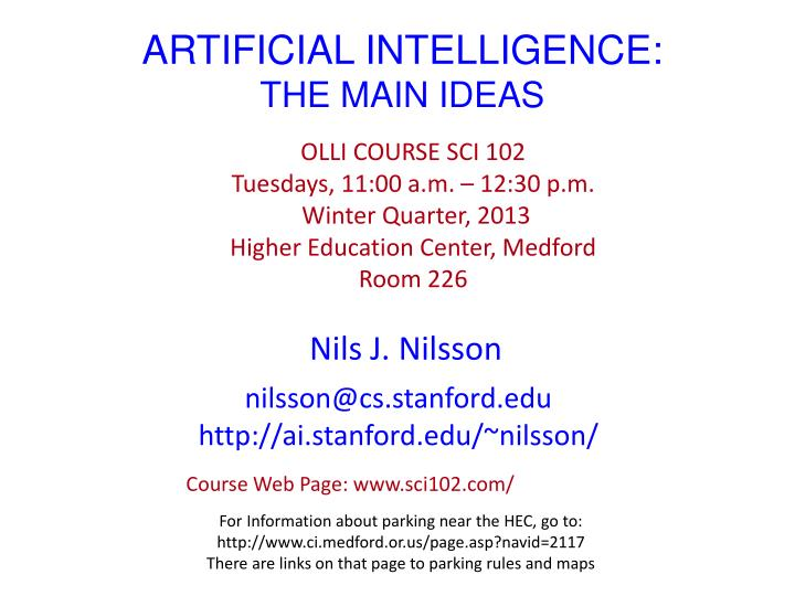artificial intelligence the main ideas n.